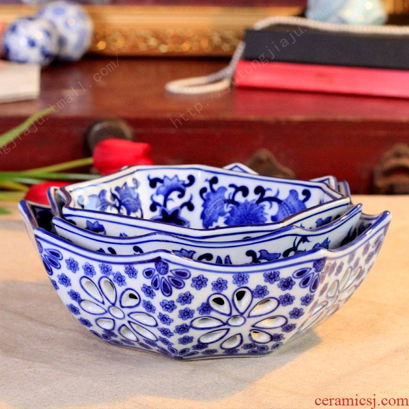 Jingdezhen ceramic fruit bowl sitting room place compote family pack medium ceramic fruit bowl/snack plate