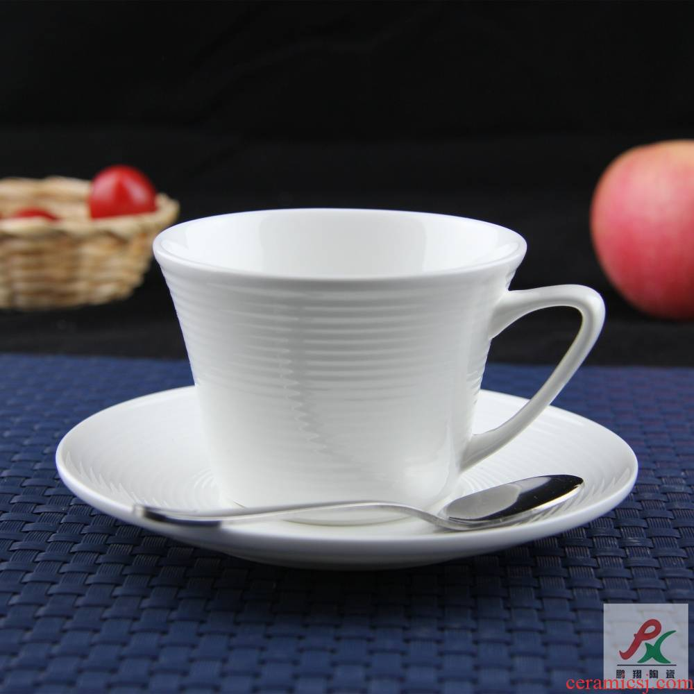 Qiao mu tangshan ipads porcelain white European coffee cups and saucers suit thread red cups cappuccino cups in the afternoon