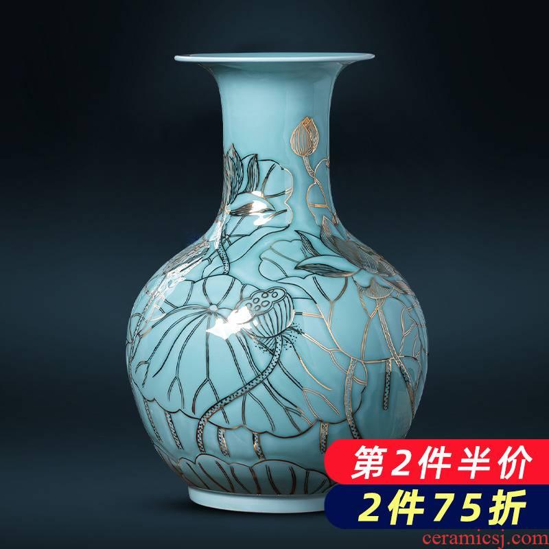Jingdezhen porcelain ceramic light blue glaze hand - made paint the big vase furnishing articles of key-2 luxury household living room TV cabinet decoration