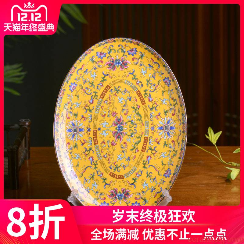 Jingdezhen colored enamel large fish dish of Chinese style household 0 profiled the steamed fish ipads China the ellipse archaize cutlery tray