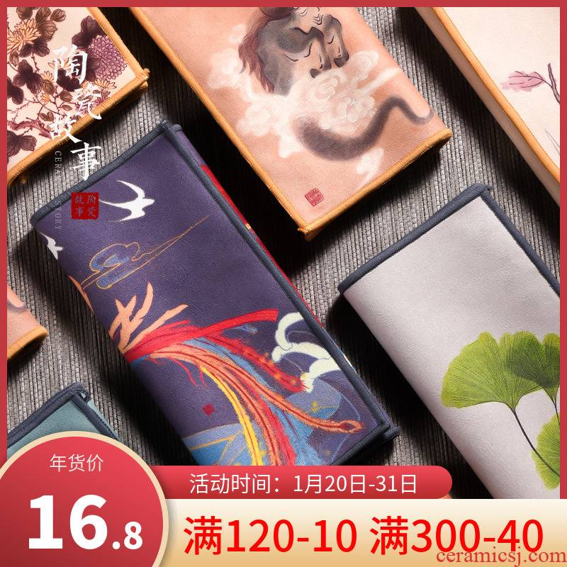 Ceramic story suction pad a pot of top - grade zen tea tea towel cloth towel towel Chinese wind with thick tea tea table cloth