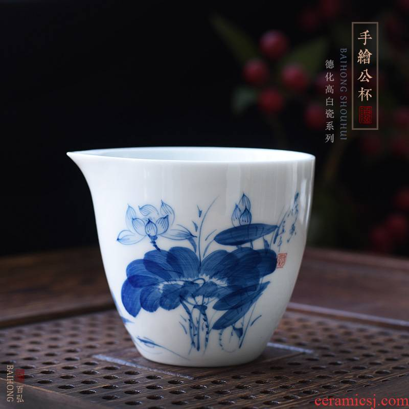 Hundred hong hand - made ceramic tea set fair keller blue and white porcelain lotus tea accessories dehua white porcelain device and a cup of tea