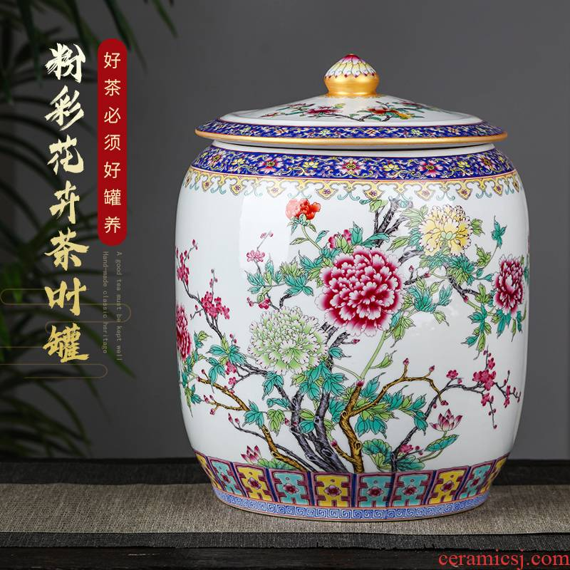 Jingdezhen ceramics large furnishing articles puer tea caddy fixings seal pot high - capacity 8 cake tea cake canned act the role ofing is tasted