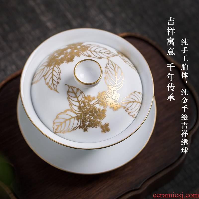 Pure manual paint only three tureen ceramic fair keller of tea cups sea use inferior smooth white porcelain making tea with tea bowl
