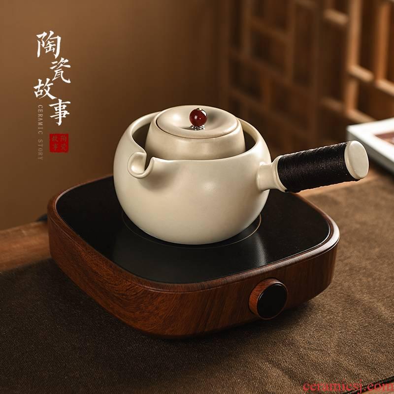 Electric ceramic story TaoLu cooking pot set the home side of single pot boil soda glaze Japanese tea ware ceramic teapot