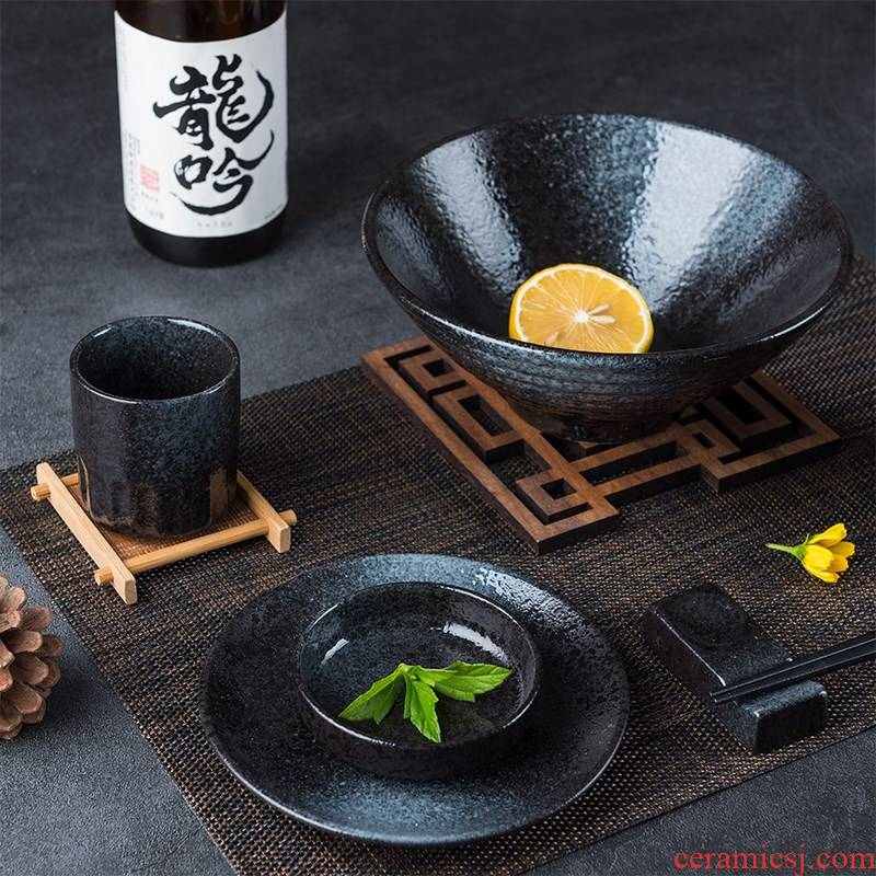 Feed one person household Japanese tableware ceramic bowl chopsticks dishes creative dishes to eat bread and butter plate dishes suit restoring ancient ways