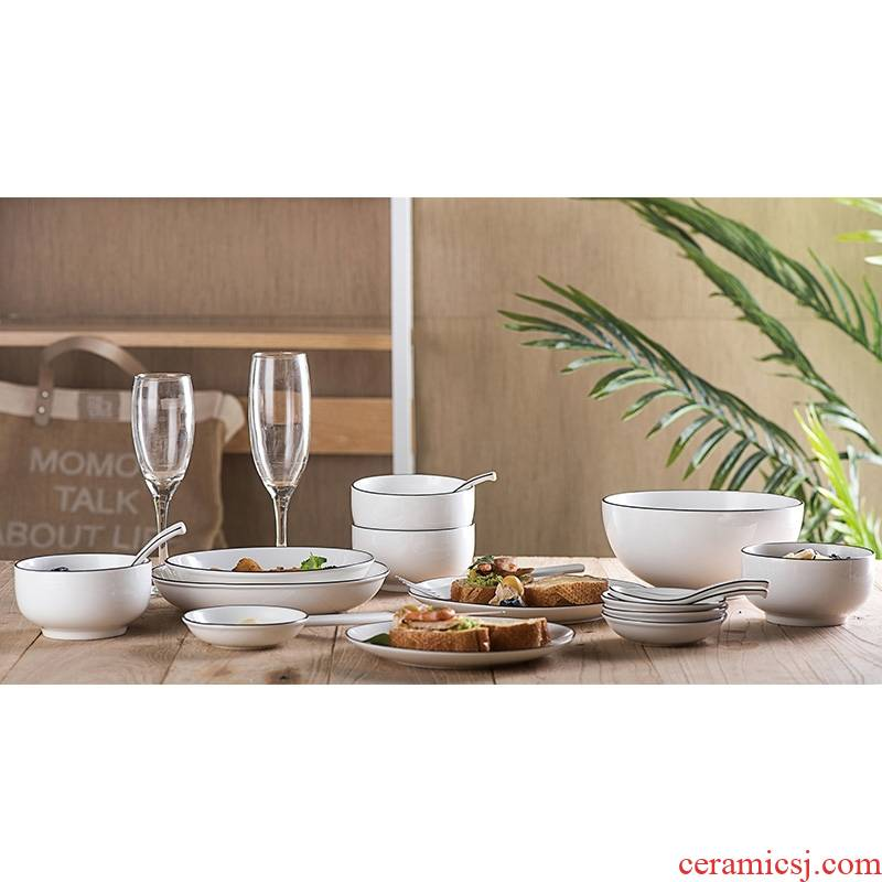 Qiao mu MLJ dishes suit household ceramic bowls of contracted dishes combine rice bowls ipads plate combination dishes