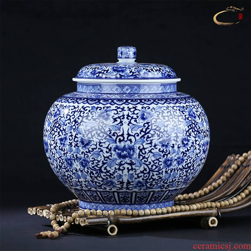 And auspicious caddy fixings pure manual under the glaze color blue storage POTS of household ceramics receives gift collection tank