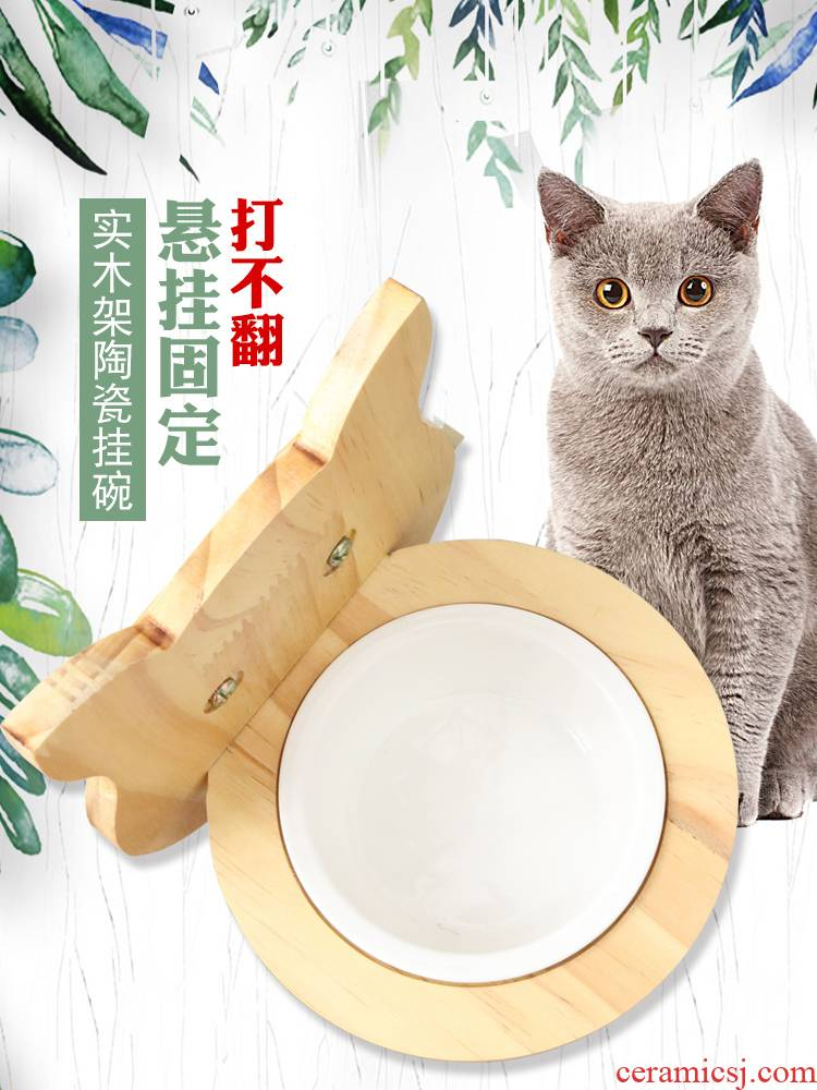 The Cat Cat Cat bowl bowl cage wall pet supplies ceramic bowl solid wooden bowl cage hanging Cat bowl dog bowl