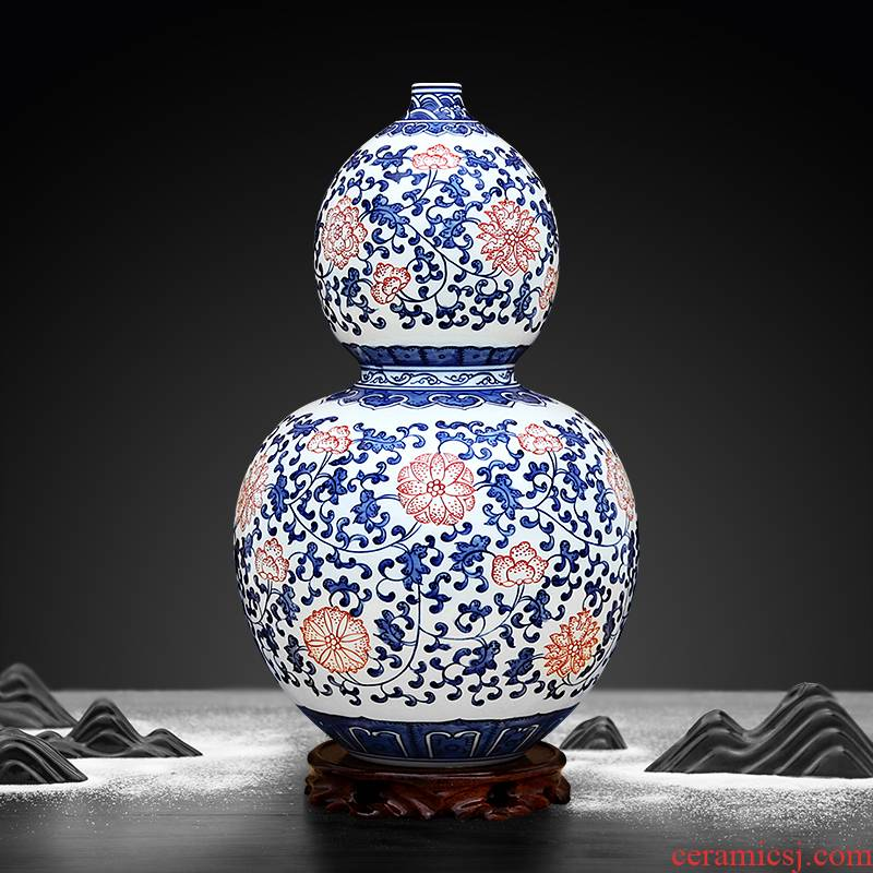 To pure hand - made blue - and - white porcelain industry youligong gourd bottle