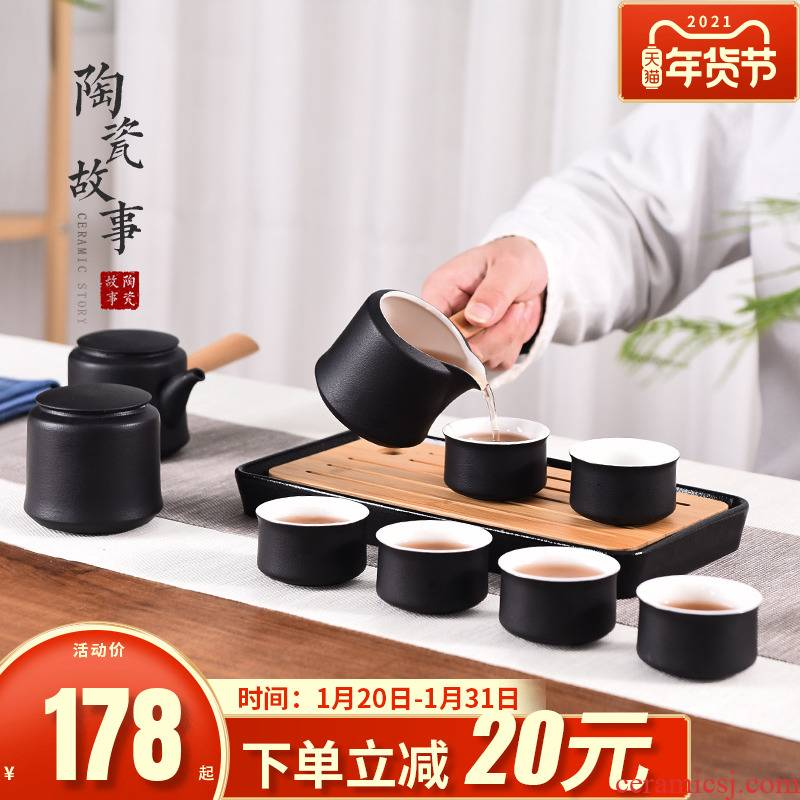 Story of kung fu tea set suit small household set of tea cups ceramic teapot Japanese visitor high - grade office