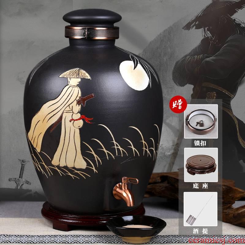 Jingdezhen ceramic jars seal it 10 jins 30 jins 50 kg bottle casks hip home wine jar