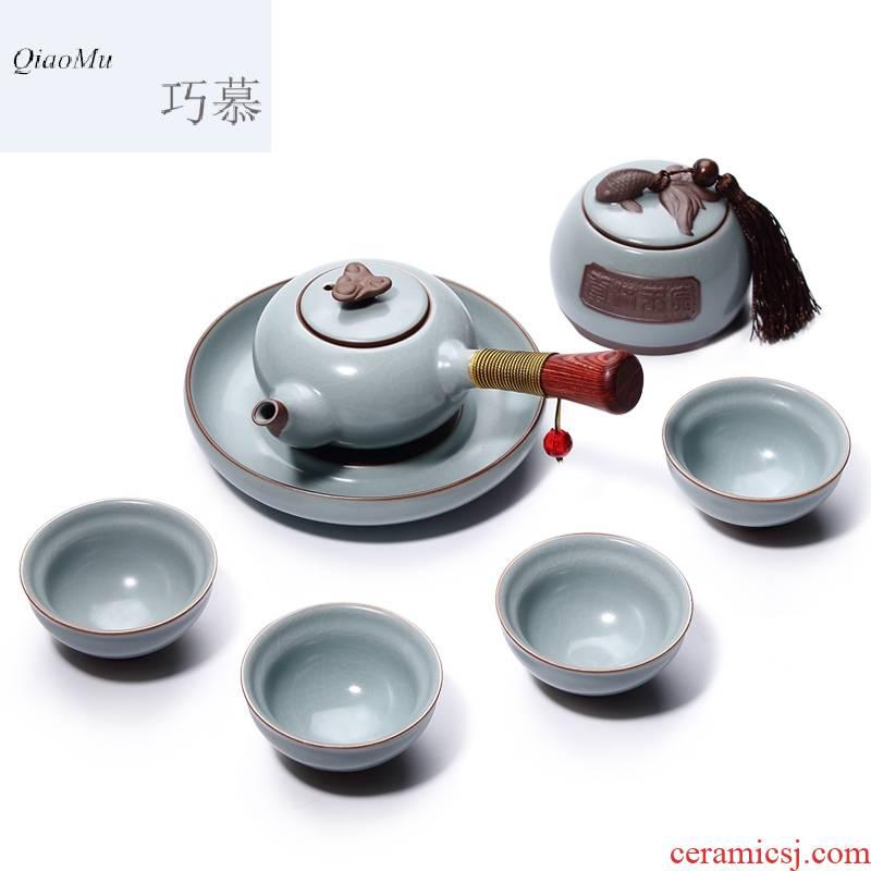 Qiao mu celadon your up on kung fu tea set your porcelain tea ware wooden side washing pot of tea, the tea pot