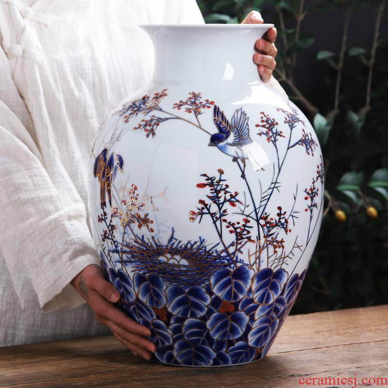 The see colour blue and white porcelain of jingdezhen ceramics hand - made large vases, new Chinese style light key-2 luxury home sitting room adornment is placed