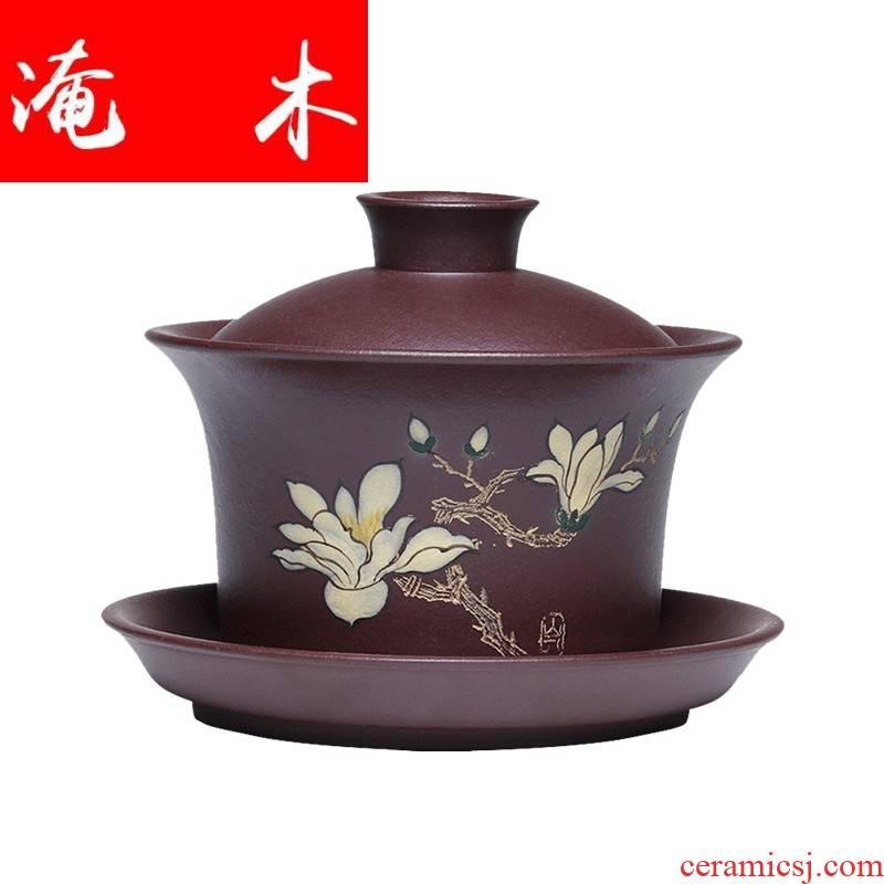 Submerged wood pure manual purple large three tureen famous Wu Jianli kung fu tea cup bowl