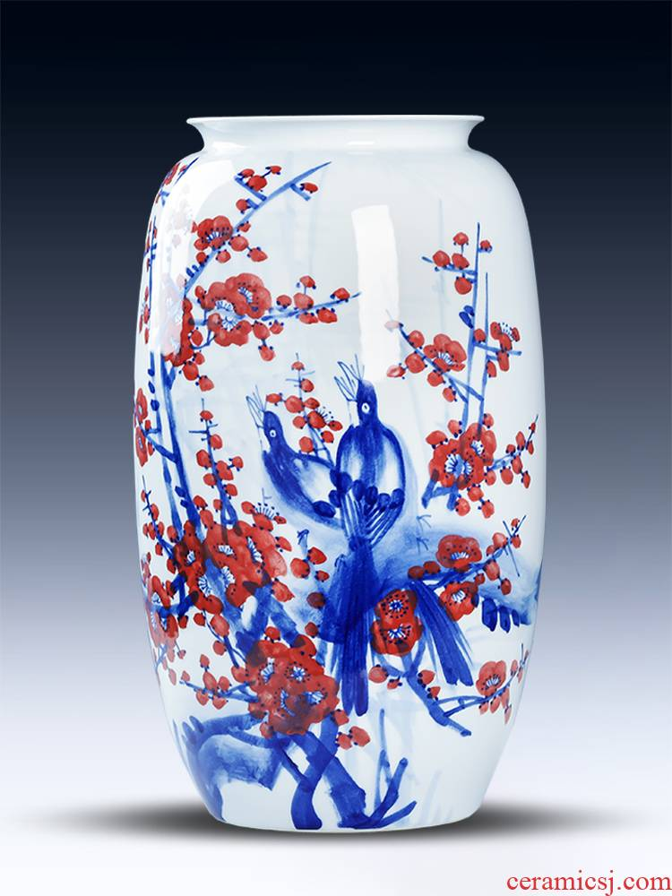 Jingdezhen ceramics hand - made under glaze color big beaming Chinese style living room floor vase household adornment furnishing articles