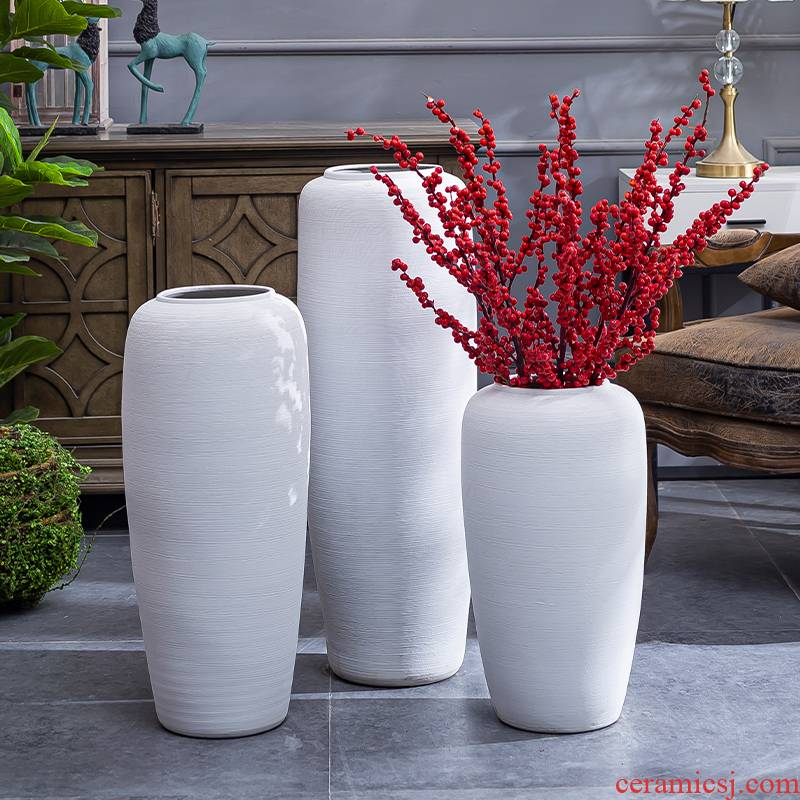 Retro coarse pottery big POTS of large white vase dried flowers flower arrangement sitting room adornment furnishing articles contracted nostalgia