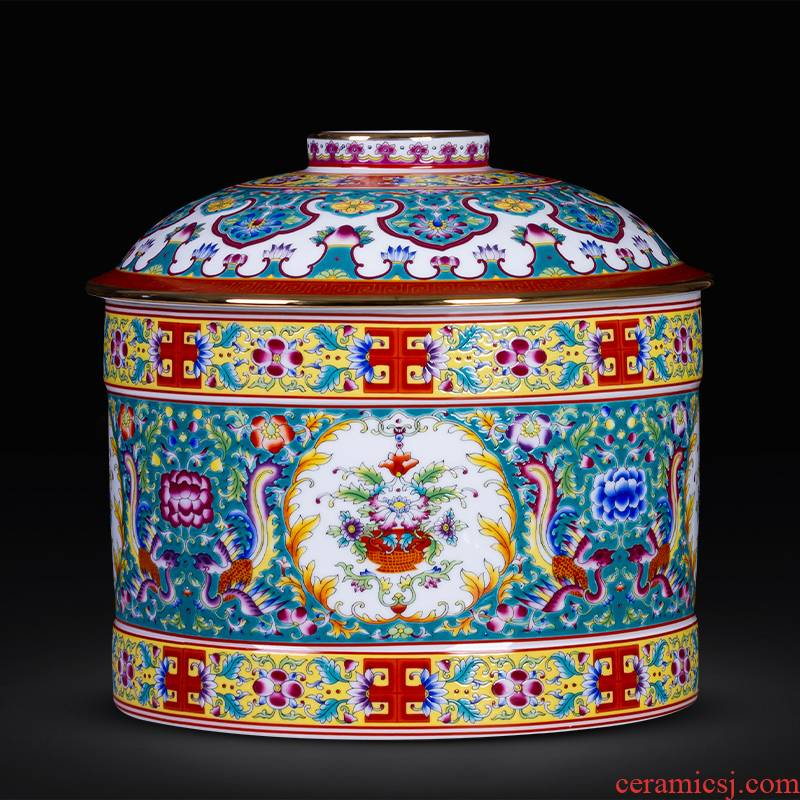 Jingdezhen ceramics colored enamel paint caddy fixings puer tea cake as cans of large household sealed container storage tank