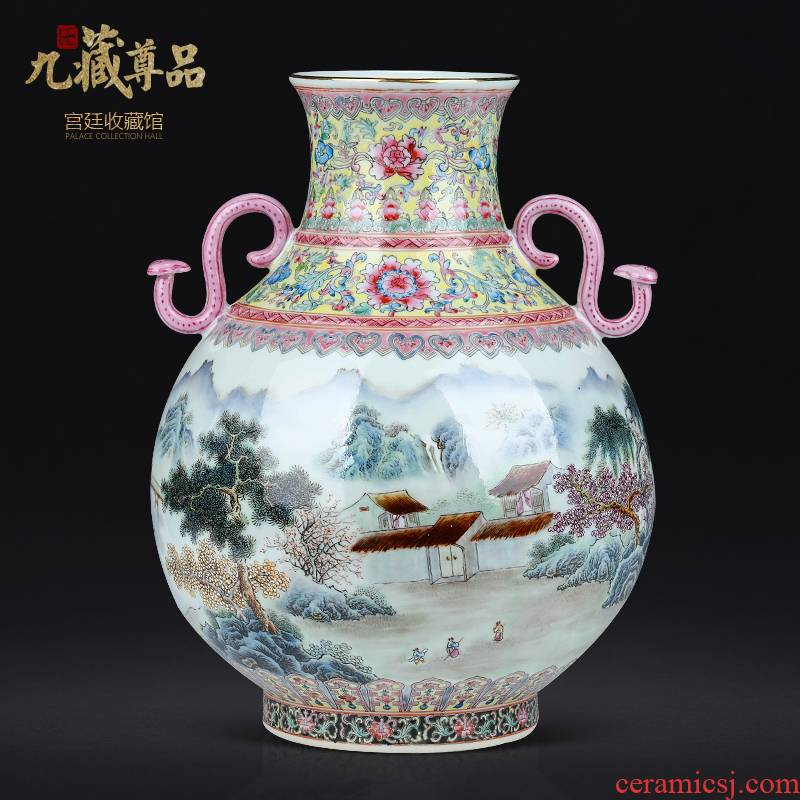 Jingdezhen ceramics hand - made pastel landscape of the republic of China the best vase Chinese sitting room porch flower arranging flowers is placed
