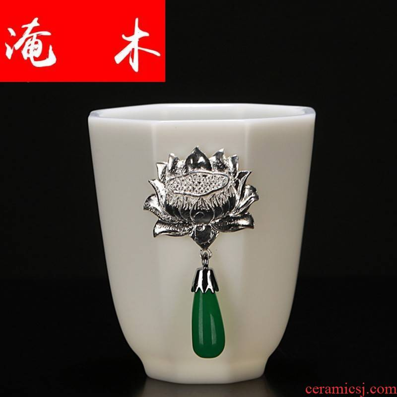 Submerged wood gode white porcelain ceramic jade pendant with silver cup individual up sample tea cup masters cup cup single CPU