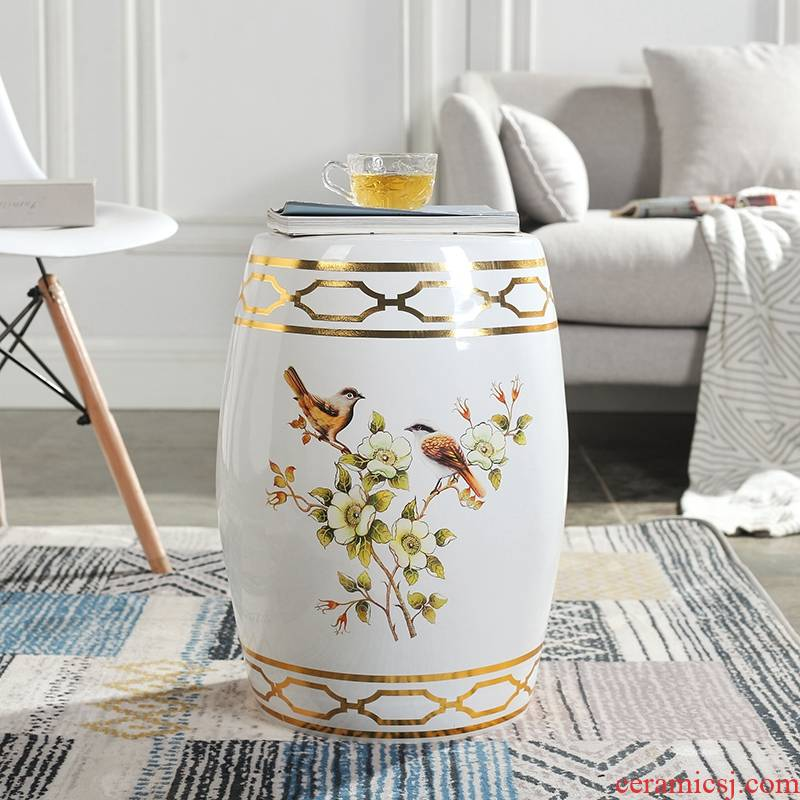 American painting of flowers and ceramic drum who jingdezhen porcelain pier porcelain who cold pier in shoes who guzheng who who light key-2 luxury furnishing articles