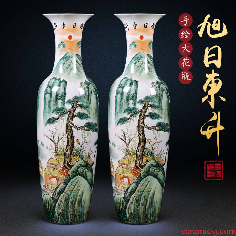 Jingdezhen ceramics of large vases, hand - made famille rose porcelain hotel Chinese style adornment furnishing articles large living room
