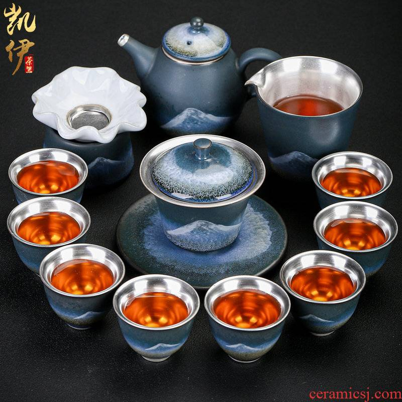 Silver ink porcelain mountain mine loader kung fu tea set teapot tea tea of a complete set of Silver cup Silver tureen hand grasp pot