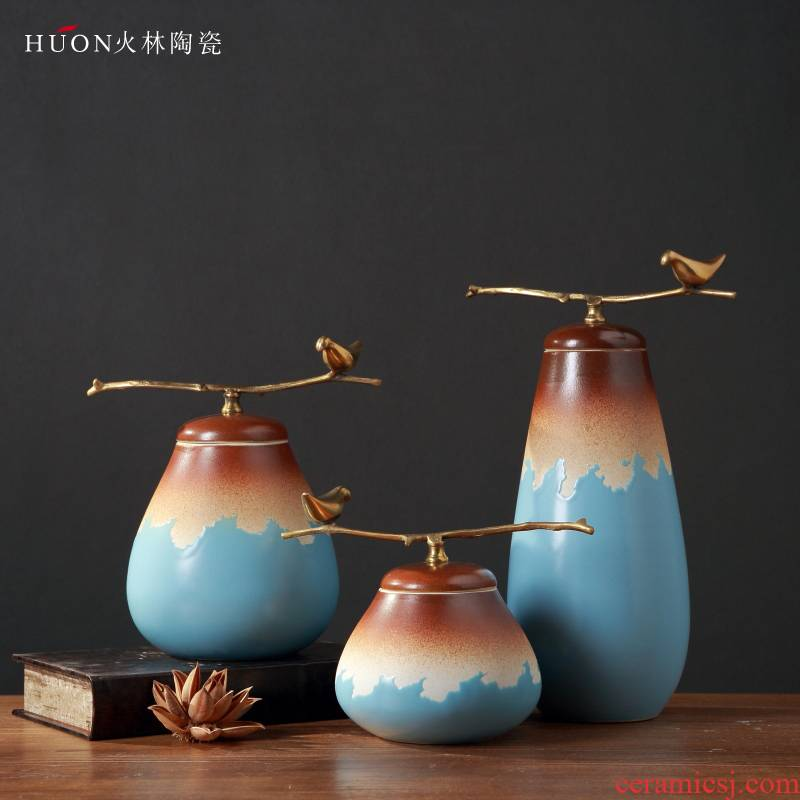 New Chinese style ceramic cover pot furnishing articles between sitting room porch TV ark, creative decoration example teahouse soft decoration