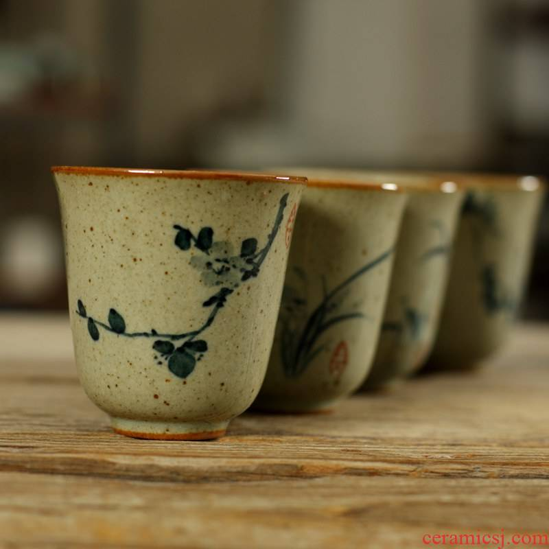Also the purple pottery coarse pottery teacup tea GuTao hand - made calligraphy, seven small bowl bowl poems verse sample tea cup of tea