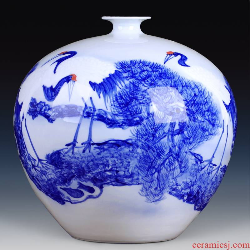 Jingdezhen ceramics furnishing articles new Chinese blue and white porcelain vase flower arranging home sitting room wedding decoration