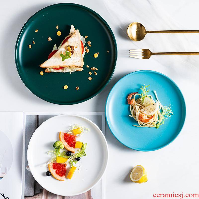 The kitchen dish Nordic creative household ceramic dish tray beefsteak tableware breakfast tray was round disc flat plate