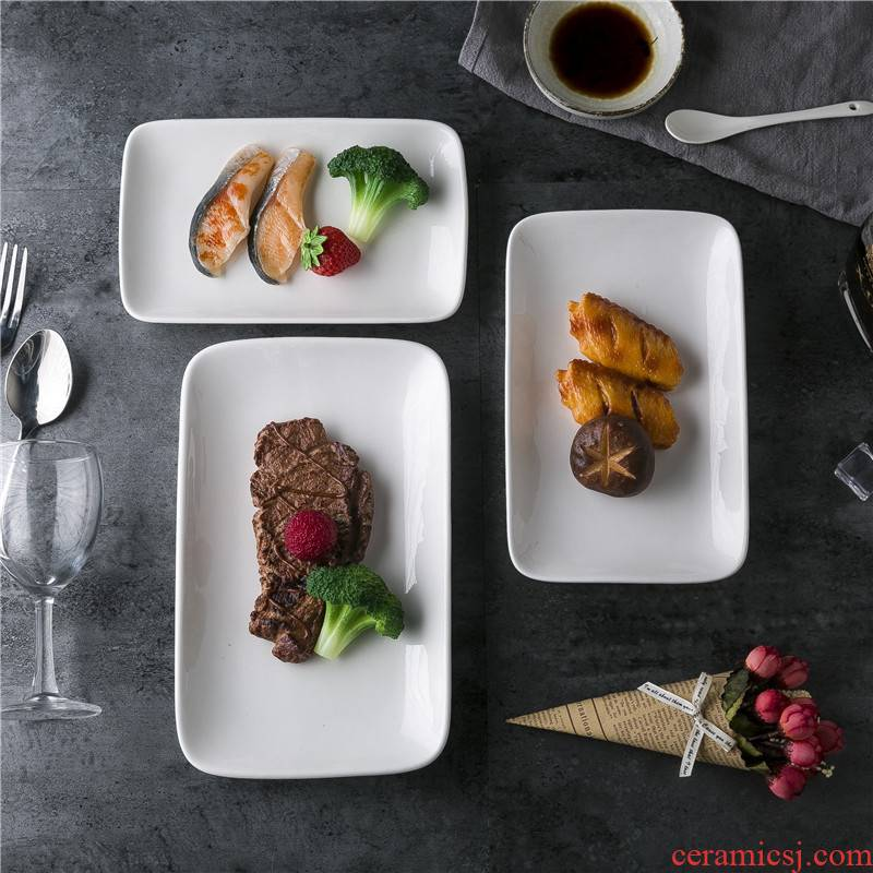 View the best hotel im white powder disc ceramic package mail Chinese tableware im hot food dish rectangular powder disc