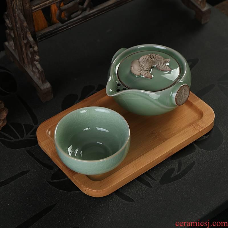 Your up crack glass ceramic kung fu tea set a pot of tea set 1 cup of portable travel office