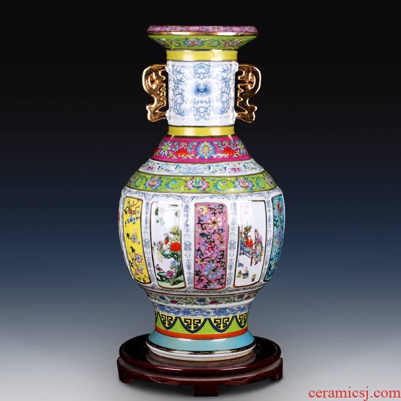 Colored enamel porcelain vase classical jingdezhen qianlong copy antique home sitting room adornment study furnishing articles