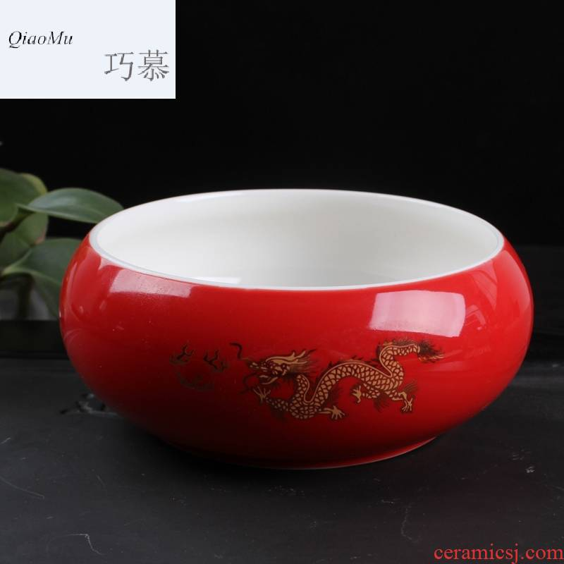 Qiao mu TN jinlong ceramic tea to wash to the writing brush washer have large kung fu tea tea accessories for wash bowl for wash cup tea cups