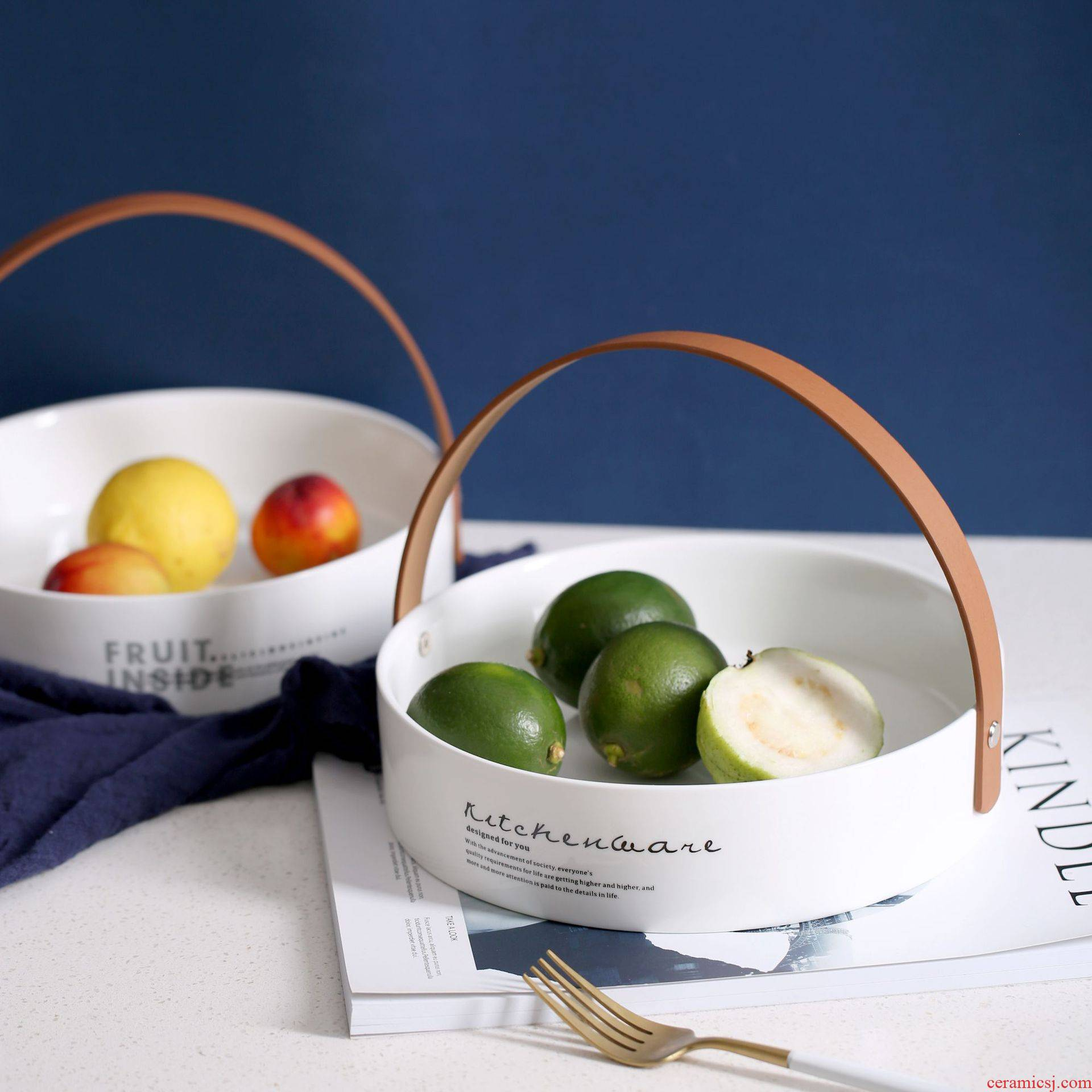 Northern wind leather laptop ceramic creative basket of fruit vegetable salad all round plate plate of ceramic tableware