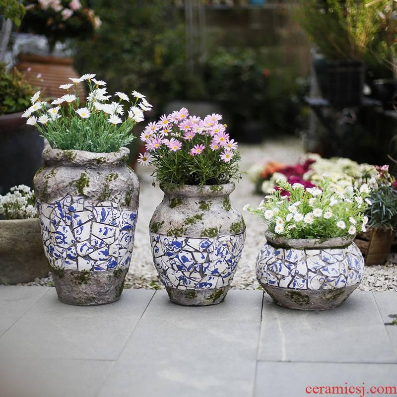 To embellish flowerpot decorated garden courtyard balcony decorate creative fleshy coarse pottery jars move king clearance