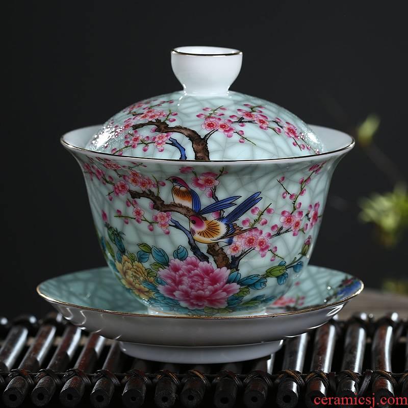 Jingdezhen ceramic only three tureen tea bowl of kung fu tea tea worship finger bowl medium bowl cups of tea