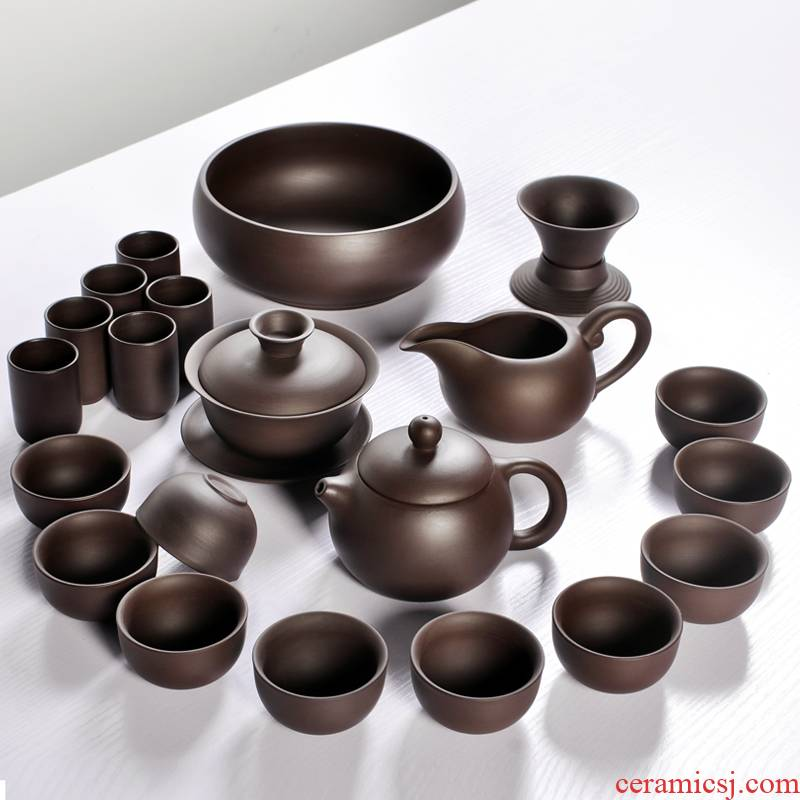 Yixing purple sand kung fu tea set suit household ceramic accessories xi shi pot of a small set of tea cups teapot single pot of gift box