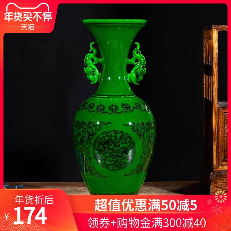 Open the slice 218 jingdezhen ceramic antique Chinese green glaze glaze vase home furnishing articles art porcelain