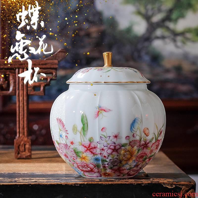 Jingdezhen hand - made colored enamel caddy fixings ceramic small sugar pot black tea POTS household wake tea container storage