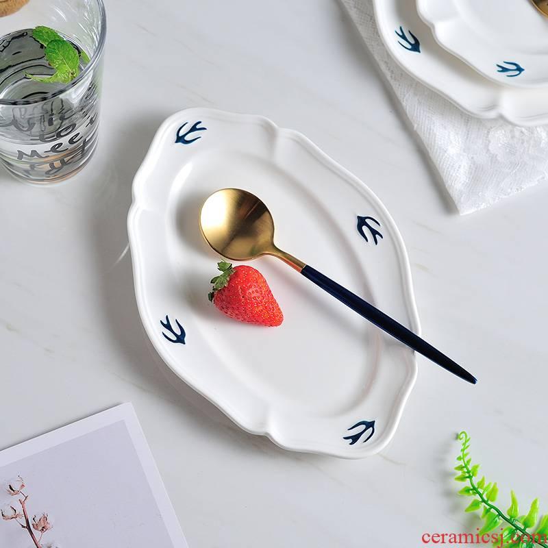 The swallow dish fruit bowl ceramic ladies disc disc restoring ancient ways of household Japanese tea tray beefsteak