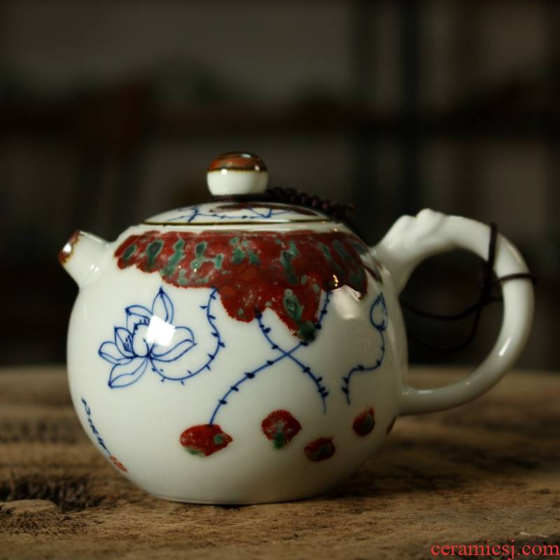 """Kung fu tea set ceramic teapot hand - made youligong well column of blue and white porcelain pot of up 's """"lotus rhyme"""""""