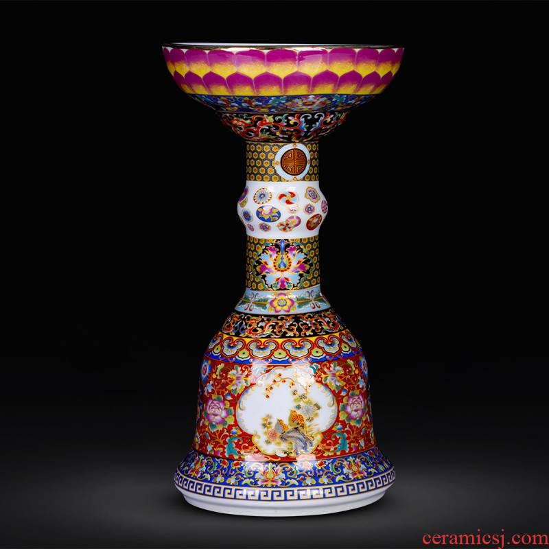 Jingdezhen ceramics imitation the qing yongzheng colored enamel vase archaize sitting room of Chinese style household adornment is placed a lotus