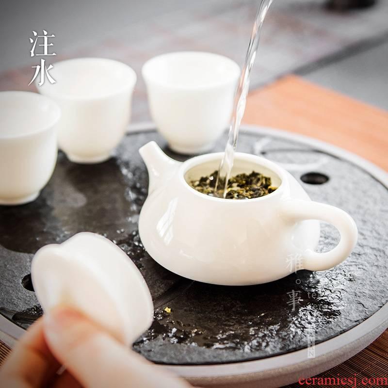 Qiao mu YWT jade porcelain stone wave filtering pot of ceramic teapot dehua white porcelain pot of tea for large ivory white teapot