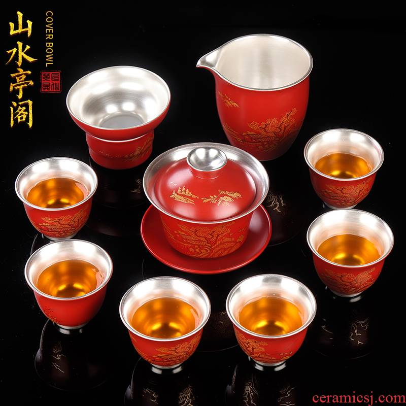 Artisan fairy coppering. As silver kung fu tea set of household ceramic checking gift boxes tureen cup Mid - Autumn festival gift