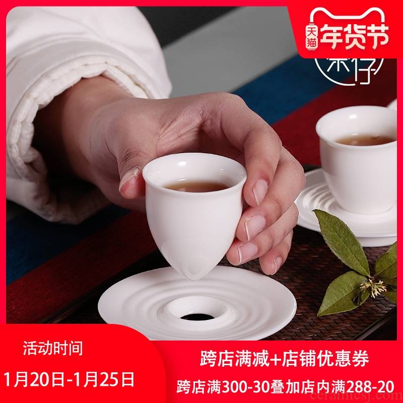 Dehua white porcelain ceramic cups kung fu master single thin foetus hat to single cup small jade porcelain tea cup single tea set