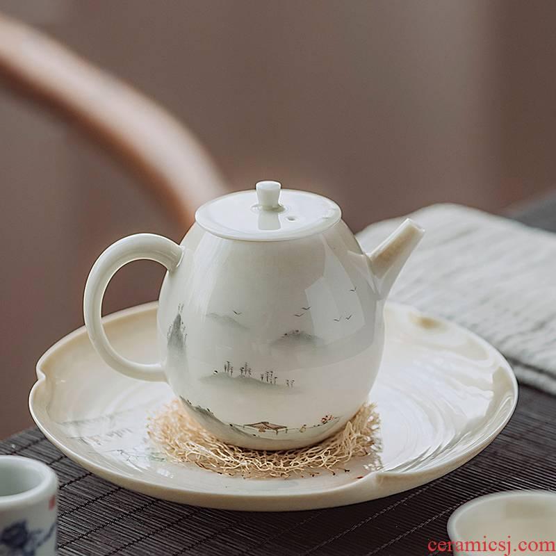 Jingdezhen hand - made scenery figure set of plant ash tea tureen manual set of kung fu tea tea