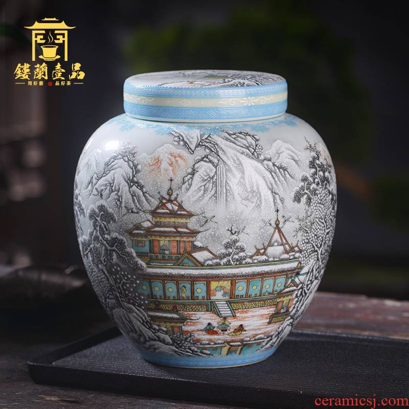 Jingdezhen ceramic hand - made powder color ink inside and outside double cover snow landscape tea caddy fixings receive wake sealed jar
