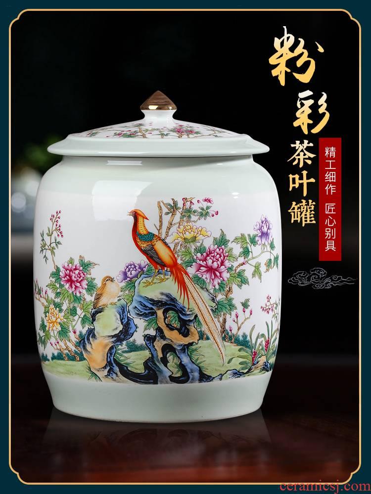 Jingdezhen ceramic tea pot of tea cake loose tea large storage tank with cover seal moisture proof home snacks pot